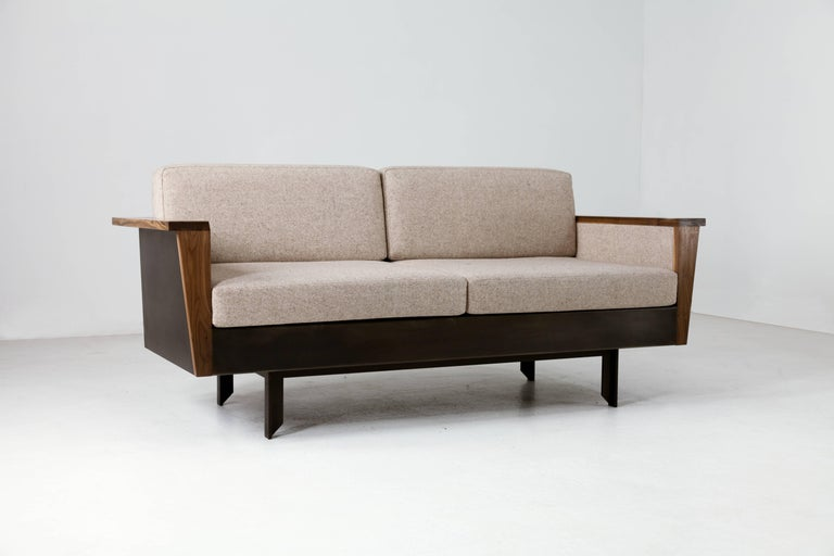 Modern Louise Sofa, Wool, American Hardwood and Steel For Sale