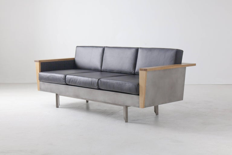 Louise Sofa, Wool, American Hardwood and Steel In Excellent Condition For Sale In Brooklyn, NY