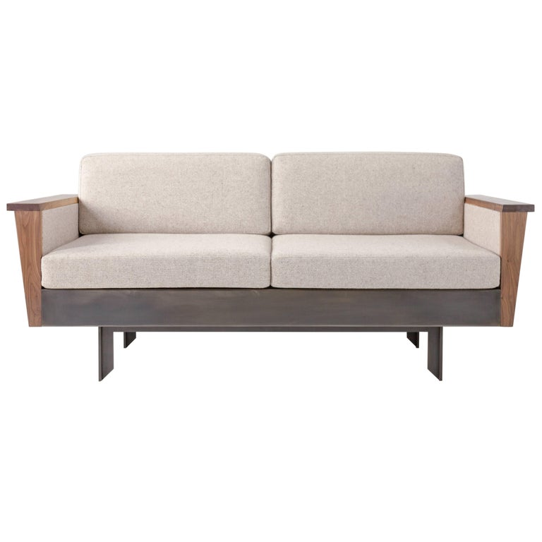 Louise Sofa, Wool, American Hardwood and Steel For Sale