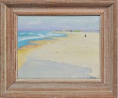 Antique American Impressionist Oil Painting, Hamptons Beach View by Louise West