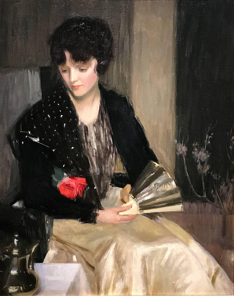 Portrait of a Woman with Fan and Rose - Realist Art by Louise Williams Jackson