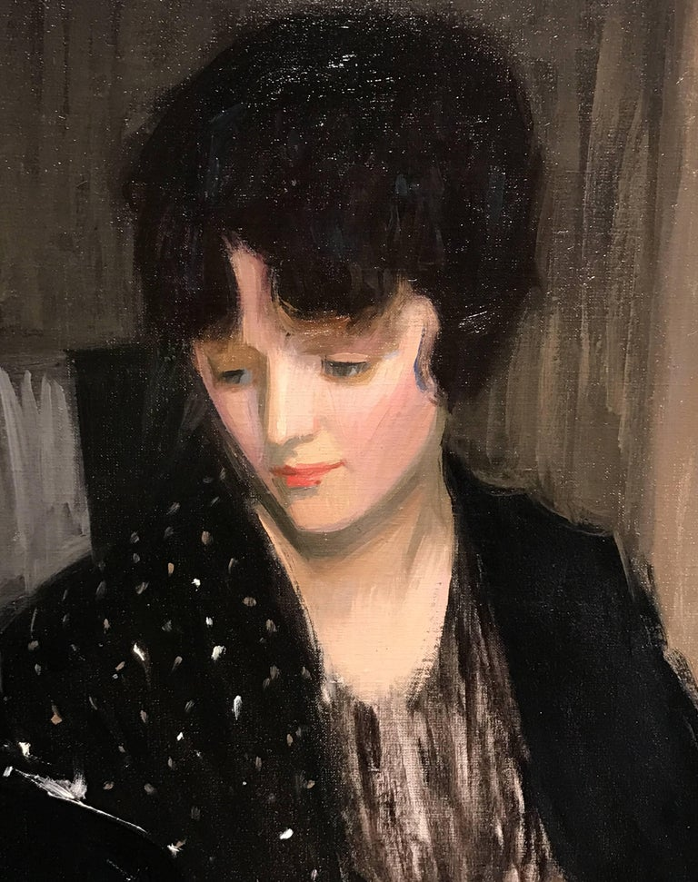 This exceptional portrait of a woman with a fan and rose was painted by American artist Louise Williams Jackson (1872-1939). Born in Newton, Massachusetts in 1872. She and her family moved to Minnesota when she was young, for several years, as her