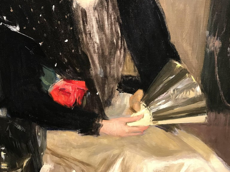Portrait of a Woman with Fan and Rose For Sale 1