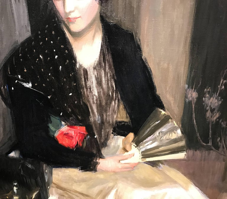 Portrait of a Woman with Fan and Rose For Sale 3