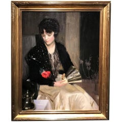Portrait of a Woman with Fan and Rose