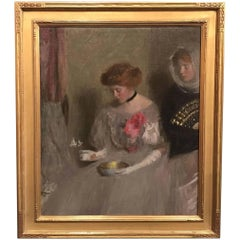 Two Figures with Bowl and Fan