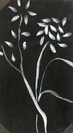 French Art - Gouache Painting - Louisette Poirier, Black & White Flowers, c.1960