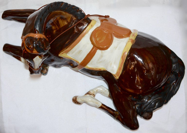 Hand-Painted Louisville Stoneware Glazed Horse Figurine For Sale