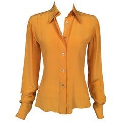 Loulou de la Falaise Golden Yellow Silk Blouse Never Worn Original Tags