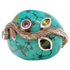 Loulou de la Falaise Large Turquoise Cocktail Ring with Gemstone Accents