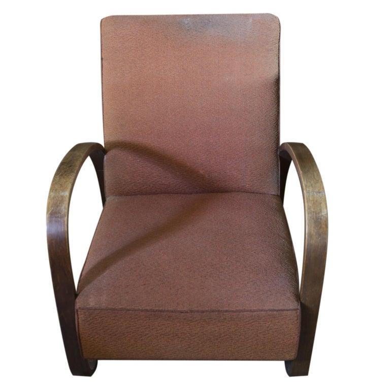 Art Deco Lounge Armchair H-70 Desingned by Jindrich Halabala, 1930s For Sale