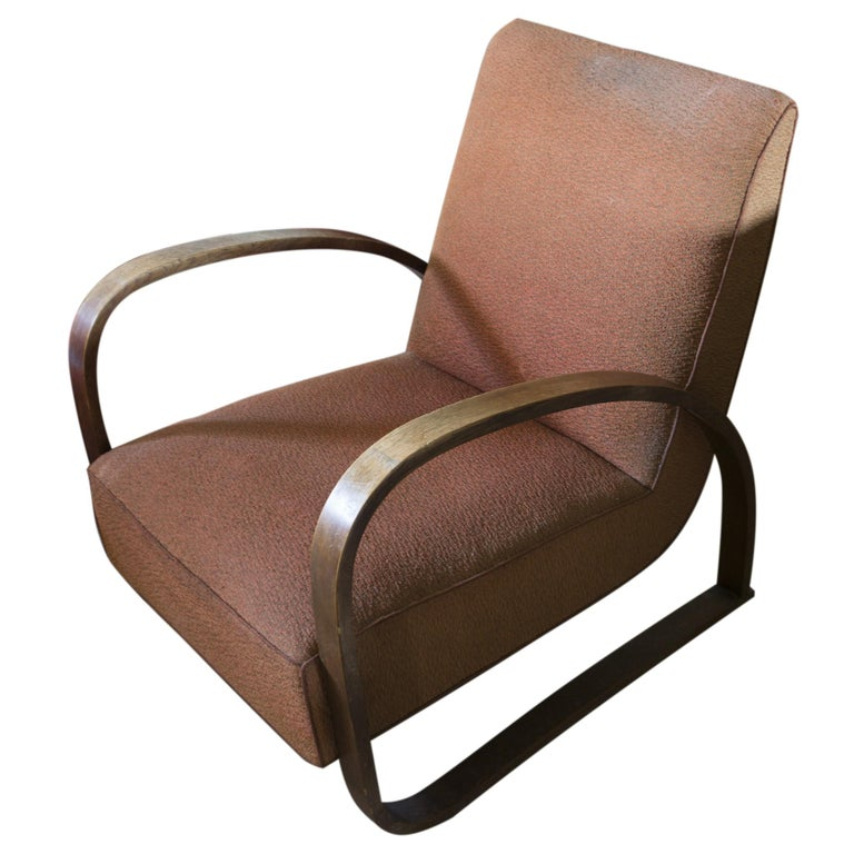 Mid-20th Century Lounge Armchair H-70 Desingned by Jindrich Halabala, 1930s For Sale
