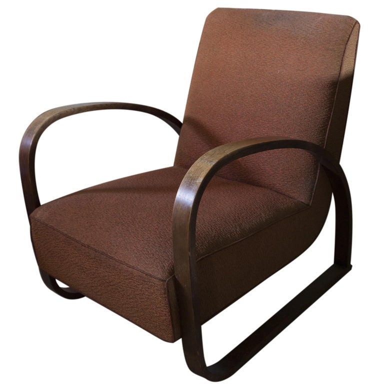 Bentwood Lounge Armchair H-70 Desingned by Jindrich Halabala, 1930s For Sale