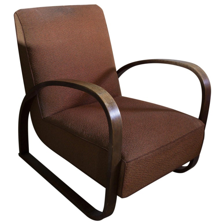 Lounge Armchair H-70 Desingned by Jindrich Halabala, 1930s For Sale
