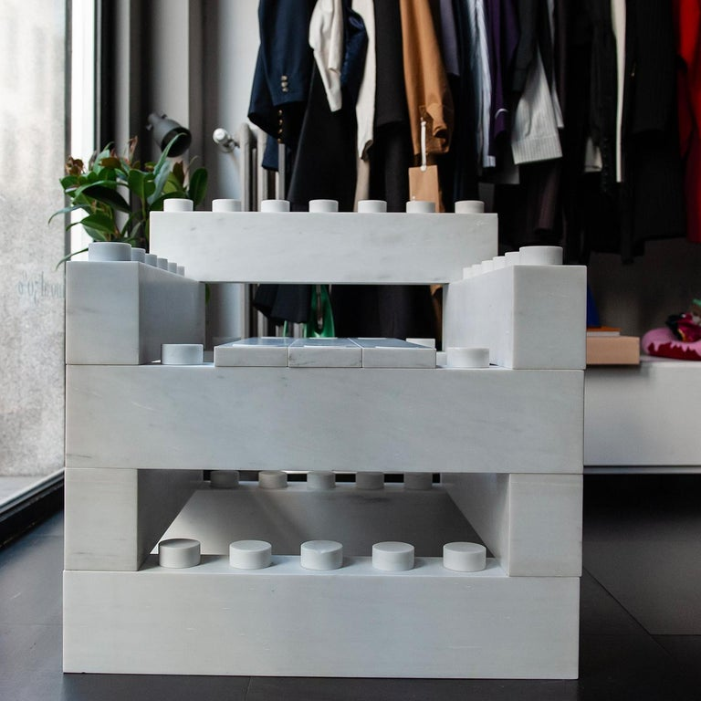 Unconventional, dynamic, and architectural, this armchair synthesizes designer Andrea Giovannetti's inspiration for his modular furniture collection. Using the concept of Lego building bricks that can be put together, taken apart, and reassembled