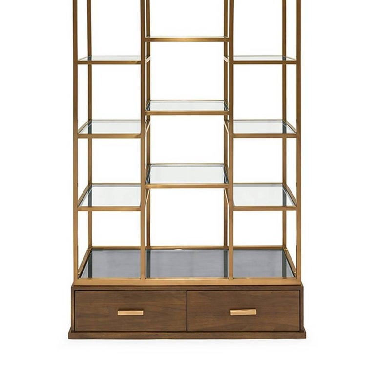 Hand-Crafted Lounge Bookshelves with Satinated Finish and Solid Wood For Sale