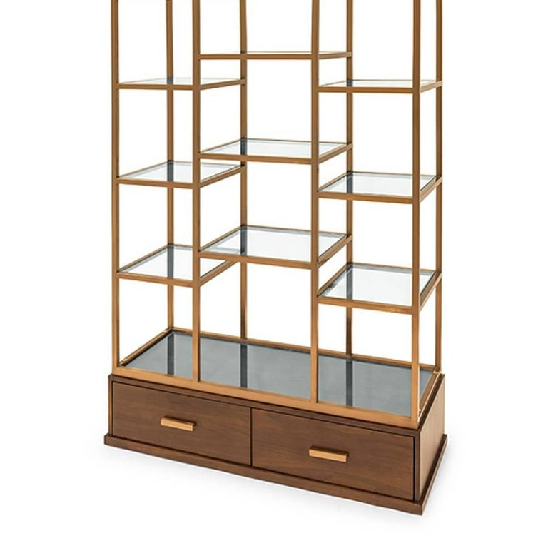 Contemporary Lounge Bookshelves with Satinated Finish and Solid Wood For Sale
