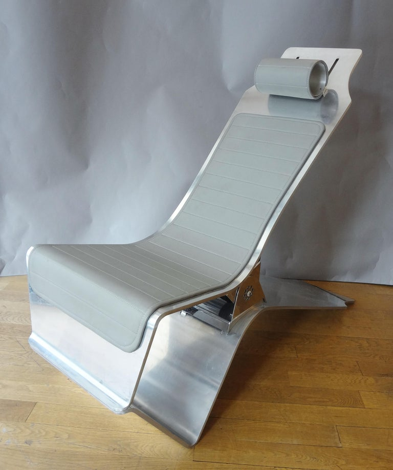 Modern Lounge Chair and Foot Stool, 1986, by Yonel Lebovici For Sale