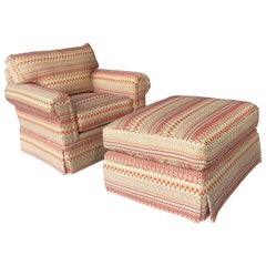 Lounge Chair and Ottoman by Century Missoni Fabric Upholstery