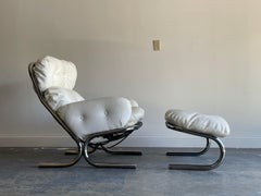 Lounge Chair and Ottoman by Directional, Attributed to Milo Baughman