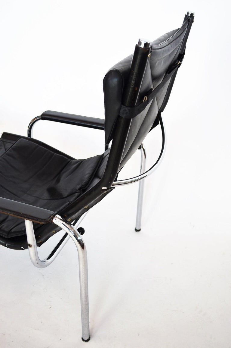 Leather Lounge Chair and Ottoman by Hans Eichenberger for Strässle, 1970s For Sale