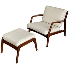 Mid Century Lounge Chair and Ottoman by Lawrence Peabody in Walnut for Selig
