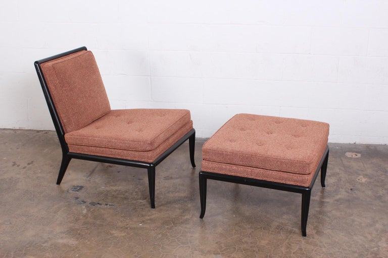 A slipper chair and matching ottoman designed by T.H. Robsjohn-Gibbings for Widdicomb.