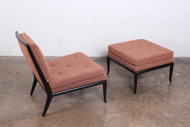 Mid-20th Century Lounge Chair and Ottoman by T.H. Robsjohn-Gibbings for Widdicomb For Sale