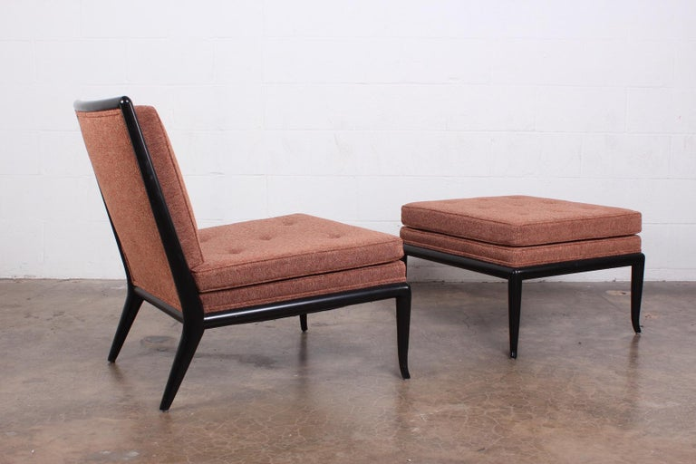 Fabric Lounge Chair and Ottoman by T.H. Robsjohn-Gibbings for Widdicomb For Sale