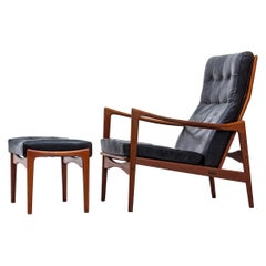 Lounge Chair and Ottoman in Teak by Ib Kofod-Larsen, Danish Modern, 1950s