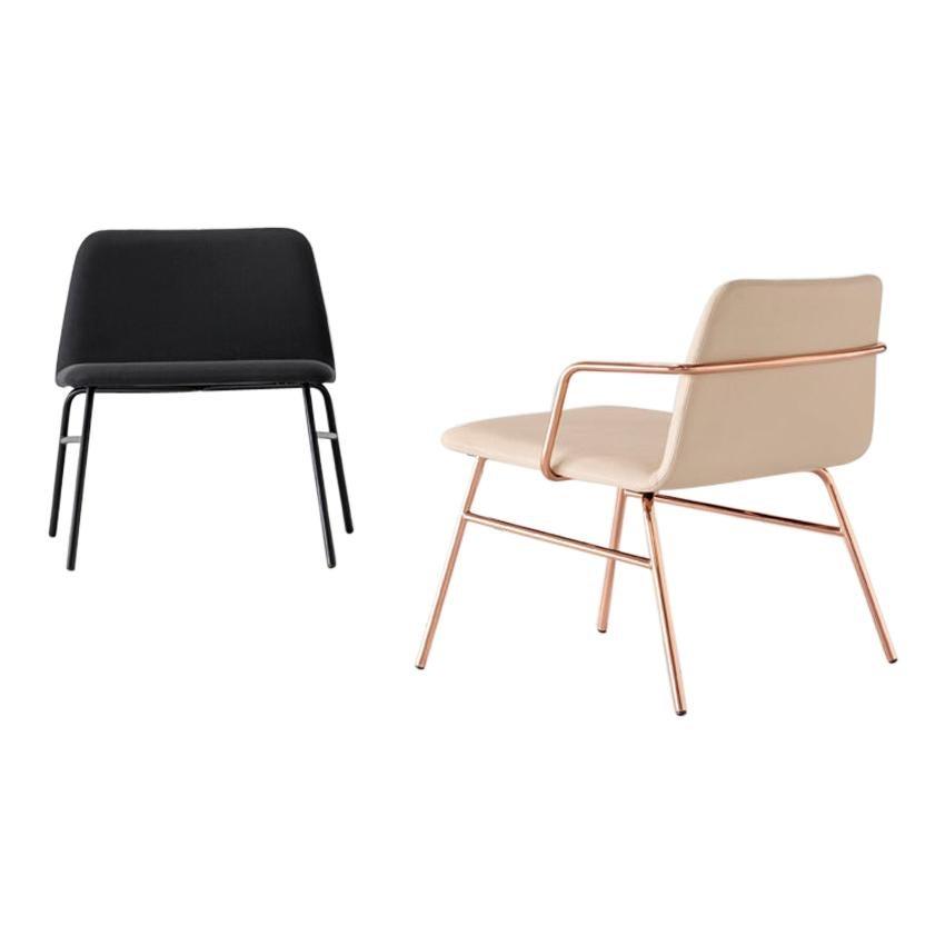 Lounge Chair Bardot Met, Fabric, Metal, Black, Red, Green Modern by Emilio Nanni