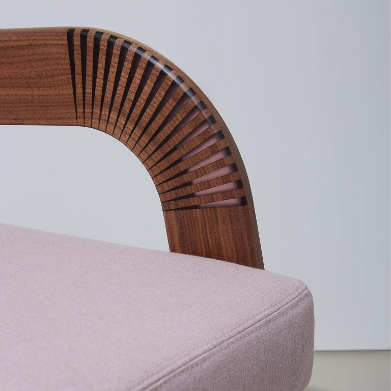 Carved Lounge Chair, Bent Walnut Arms, Epoxy Resin Inlay, Pink Upholstery, Custom For Sale