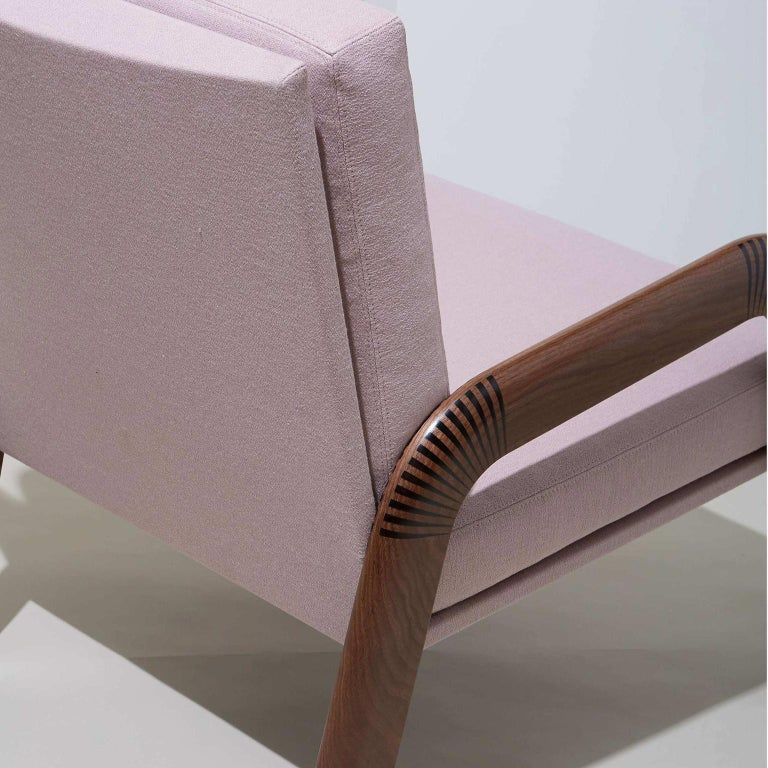 Lounge Chair, Bent Walnut Arms, Epoxy Resin Inlay, Pink Upholstery, Custom In New Condition For Sale In Brooklyn, NY
