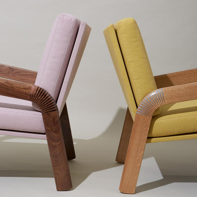 Contemporary Lounge Chair, Bent Walnut Arms, Epoxy Resin Inlay, Pink Upholstery, Custom For Sale
