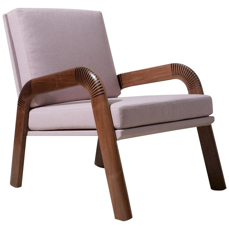 Lounge Chair, Bent Walnut Arms, Epoxy Resin Inlay, Pink Upholstery, Custom For Sale