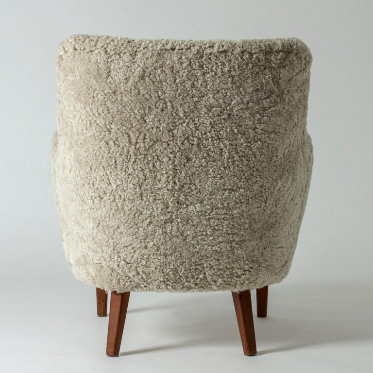 Sheepskin Lounge Chair by Arne Vodder for K. Ivan Schlechter, Denmark, 1950s For Sale