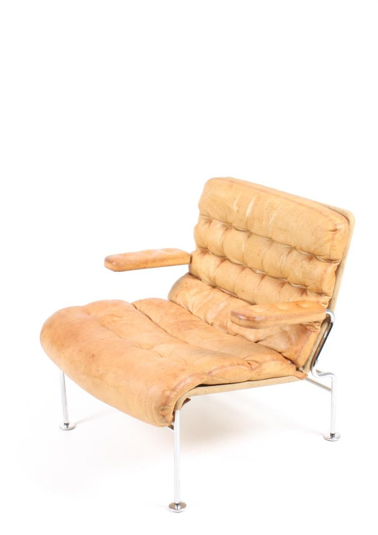 Leather Lounge Chair by Bruno Mathsson For Sale