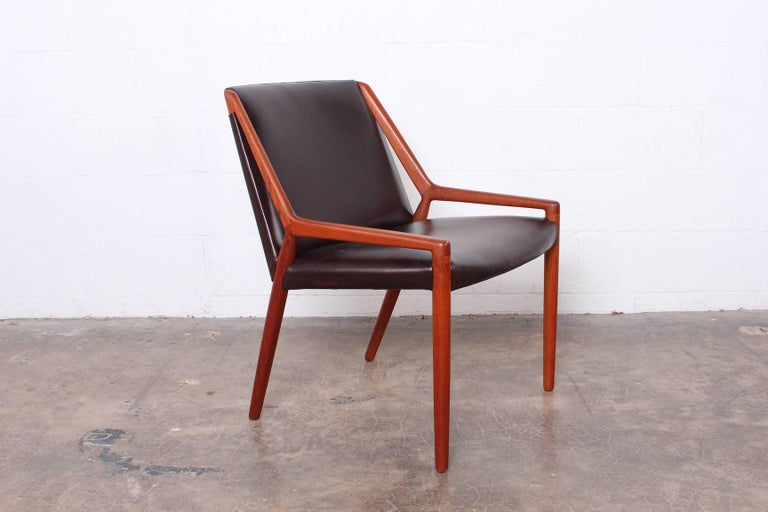 A rare teak and leather lounge chair by Ejner Larsen and Axel Bender Madsen for Willy Beck.