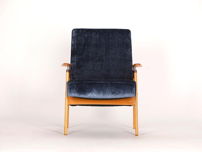Designed during the Socialist era. The frame is made of light beechwood. The core is made of natural coconut fiber, providing comfortability. Very quality English velvet upholstery from Colefax and Fowler. Completely restored.