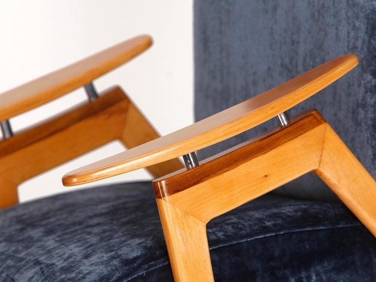 Velvet Lounge Chair by Jaroslav Smidek for Jitona, 1960s For Sale