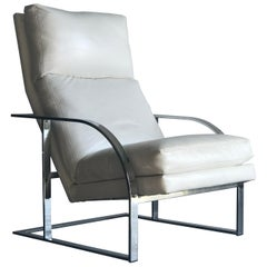 Lounge Chair by Milo Baughman for Thayer Coggin, White Leather and Chrome
