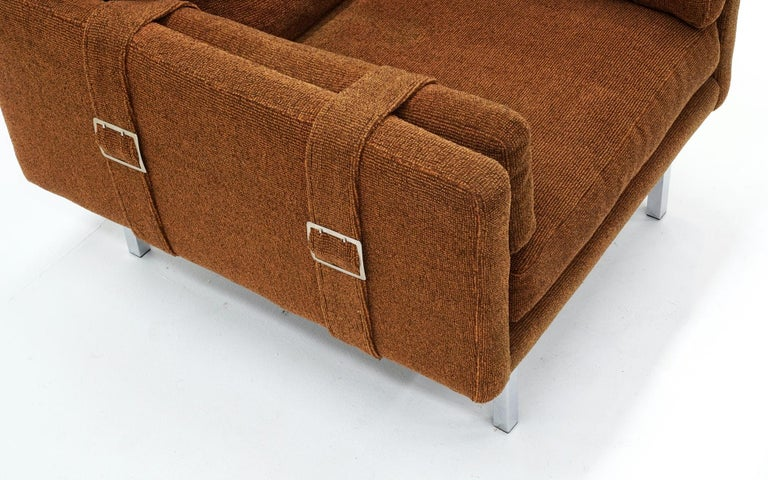 American Lounge Chair by Milo Baughman, Original Rust Color Fabric with Belt Buckle Arms