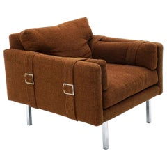 Lounge Chair by Milo Baughman, Original Rust Color Fabric with Belt Buckle Arms