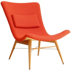 Lounge Chair by Miroslav Navratil, 1959, Reupholstered in Red Kvadrat Fabric