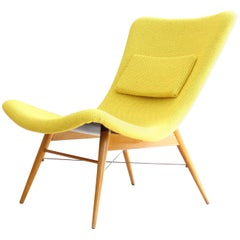 Lounge Chair by Miroslav Navratil, 1959, Reupholstered in Yellow Kvadrat Fabric