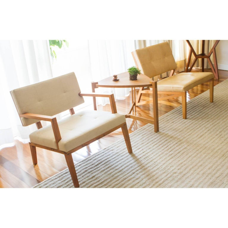 Leather Lounge Chair Cim Made of Tropical Hardwood in Brazilian Contemporary Design For Sale