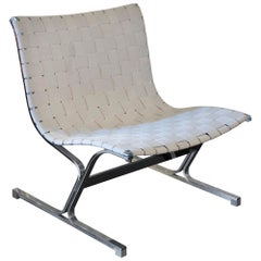 Lounge Chair Designed by Ross Littell for ICF, Chrome/Weave Band, Italy 1970s