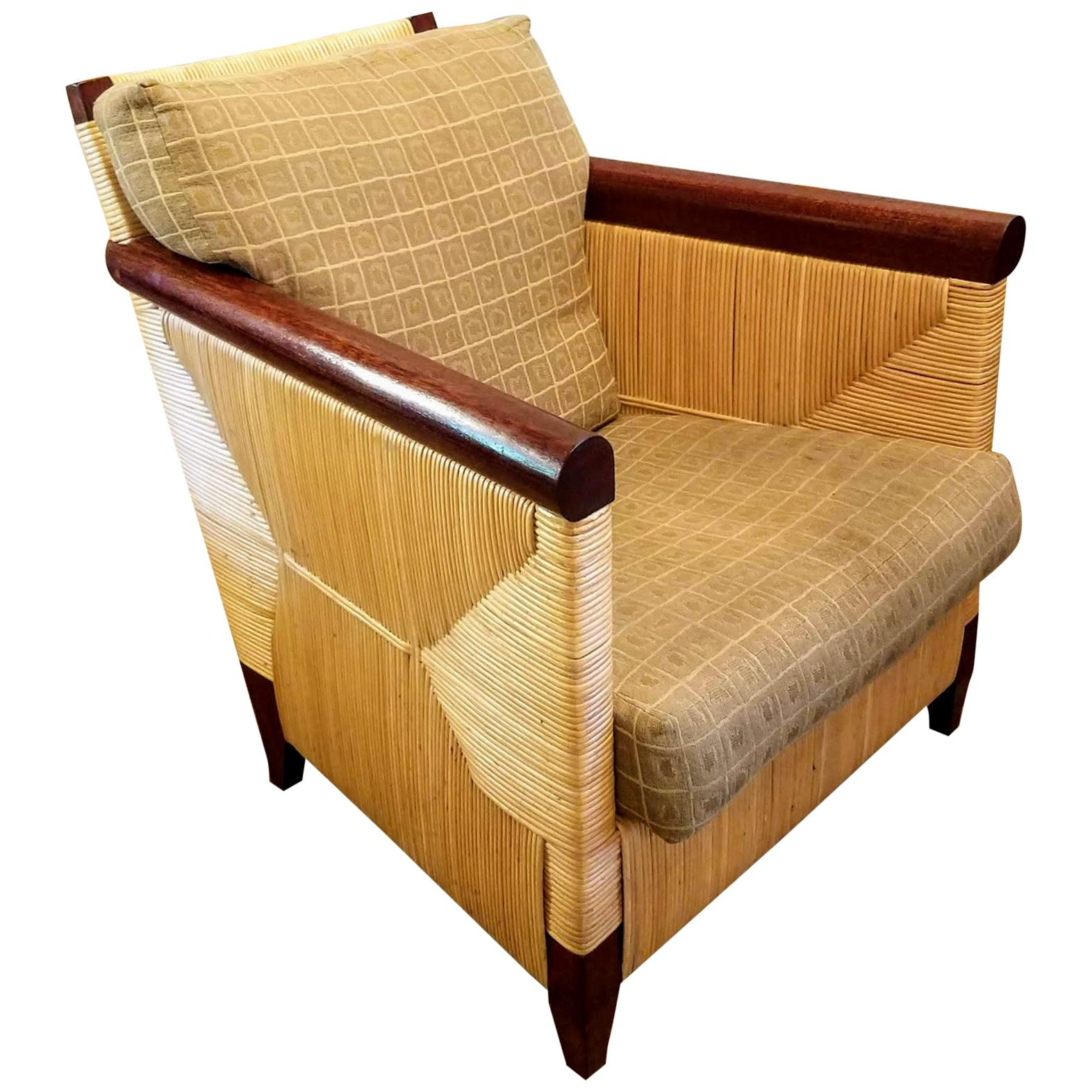 Lounge Chair Donghia by John Hutton 1995 Mahogany and Cane