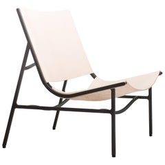 Lounge Chair GH in Blackened Laser-Cut Steel Frame and Veg Tan Leather Sling