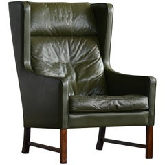 Lounge Chair Green Leather and Rosewood Attributed to Fredrik Kayser, Norway